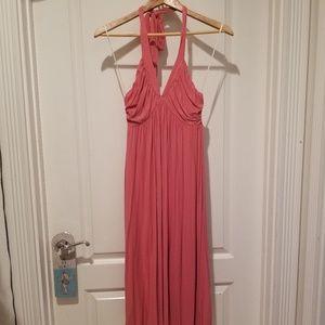 Coral Color Halter Midi Dress